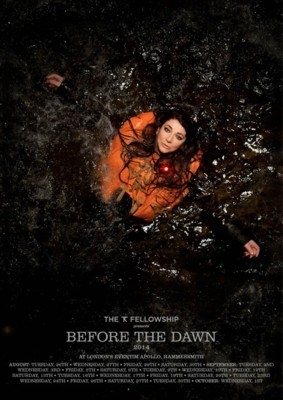 Plakat reklamujący koncerty BEFORE THE DAWN w 2014 roku